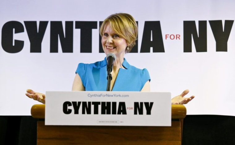 In this March 20, 2018 file photo, New York candidate for governor Cynthia Nixon speaks during her first campaign stop after announcing she would challenge New York Gov. Andrew Cuomo for the Democratic nomination.