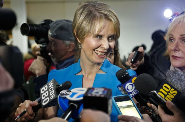 FILE - In this March 20, 2018 file photo, New York candidate for governor Cynthia Nixon speaks during her first campaign stop after announcing she would challenge New York Gov. Andrew Cuomo for the Democratic nomination, at a church in the Brooklyn borough of New York.