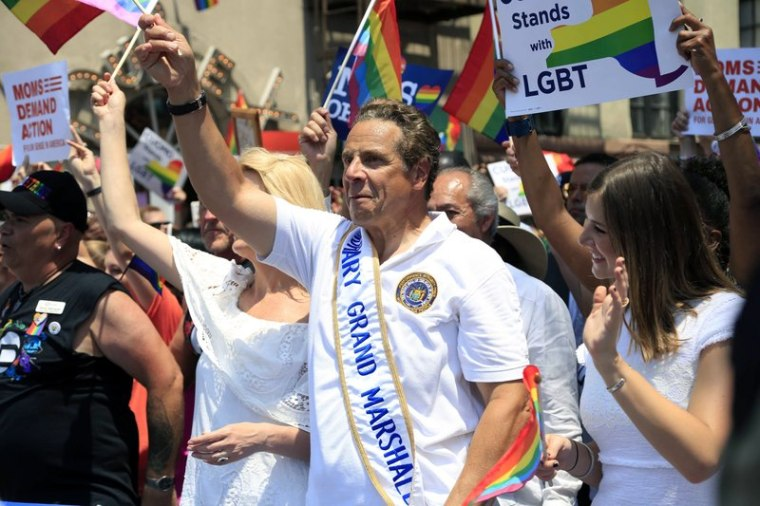In this June 26, 2016 file photo, New York Gov. Andrew Cuomo marches in the NYC Pride Parade in New York.