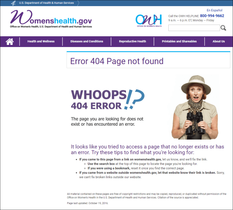 Image: Health and Human services error page
