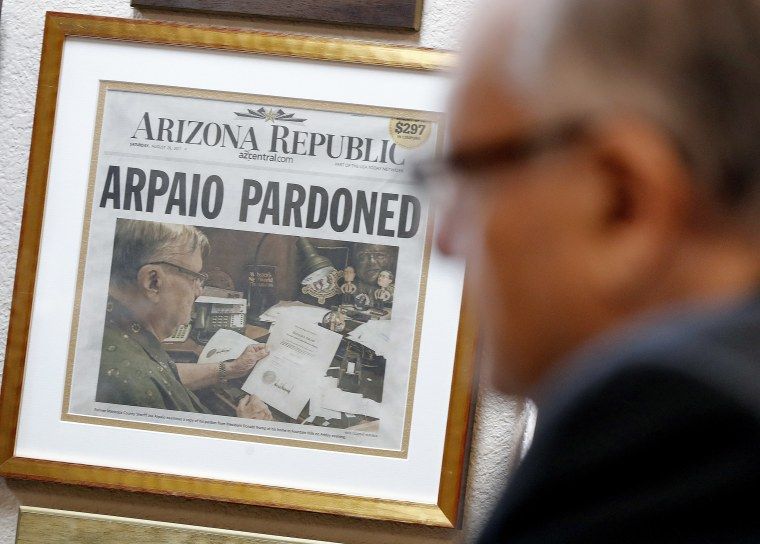 Image: A newspaper declaring the pardon of former Maricopa County Sheriff and U.S. Senate candidate Joe Arpaio