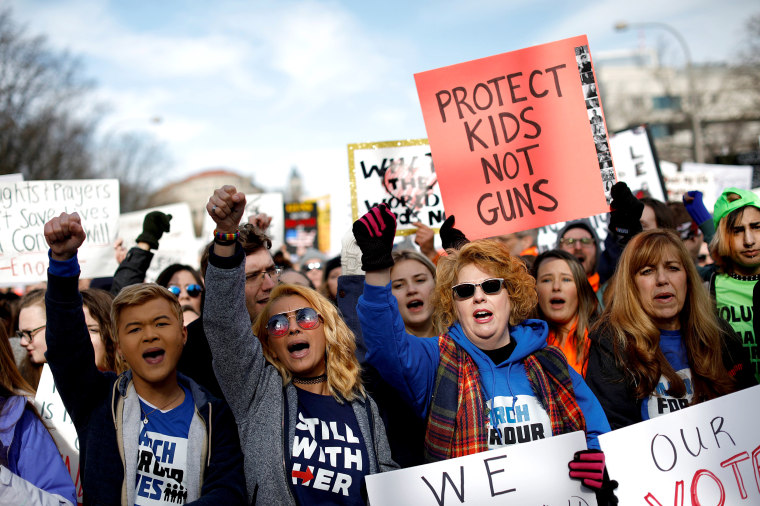 "Image: Demonstrators chant as students and gun control advocates hold the ""March for Our Lives"" event demanding gun control after recent school shootings at a rally in Washington"
