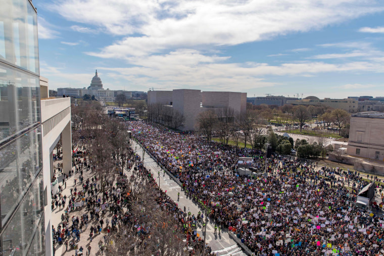 A crowd starts to gather at the start of the rally in Washington, DC.