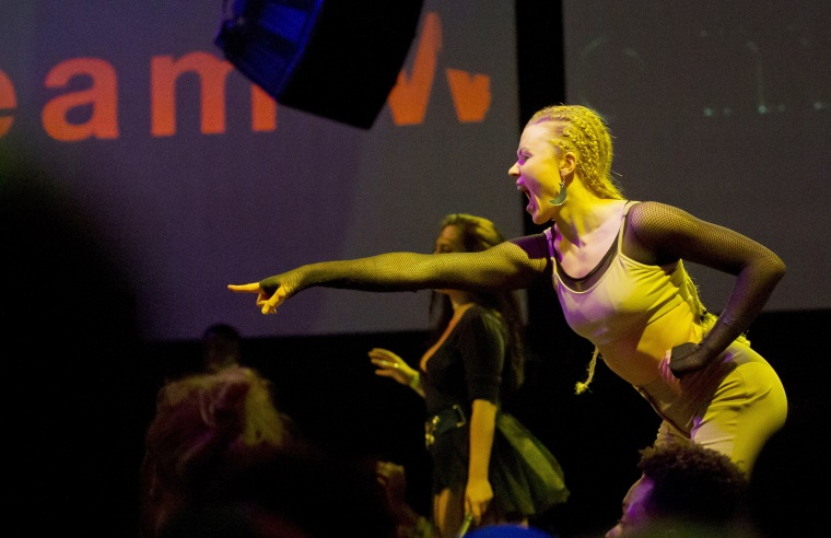 Image: A voguing ballroom dancer performs on stage during a competition Paris
