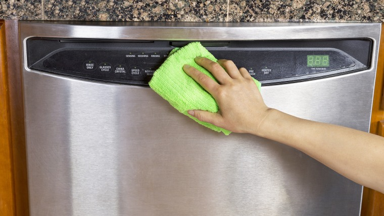 Clean stainless steel dishwasher