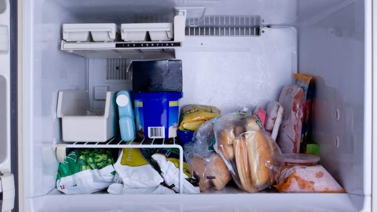 Freezer with food.