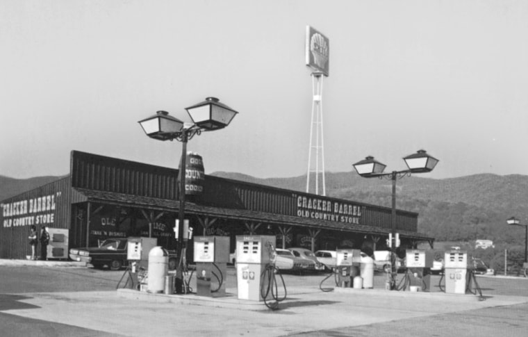 One of the first Cracker Barrel restaurants with an Oil Shell gas station