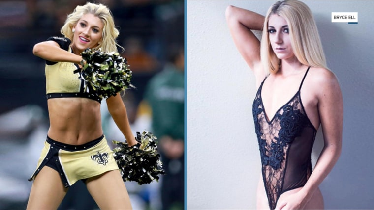 Former New Orlean Saints cheerleader Bailey Davis in her outfit, and the picture that got her fired.