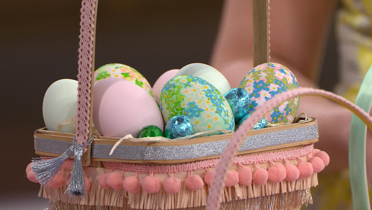 Easter decor decorating eggs basket