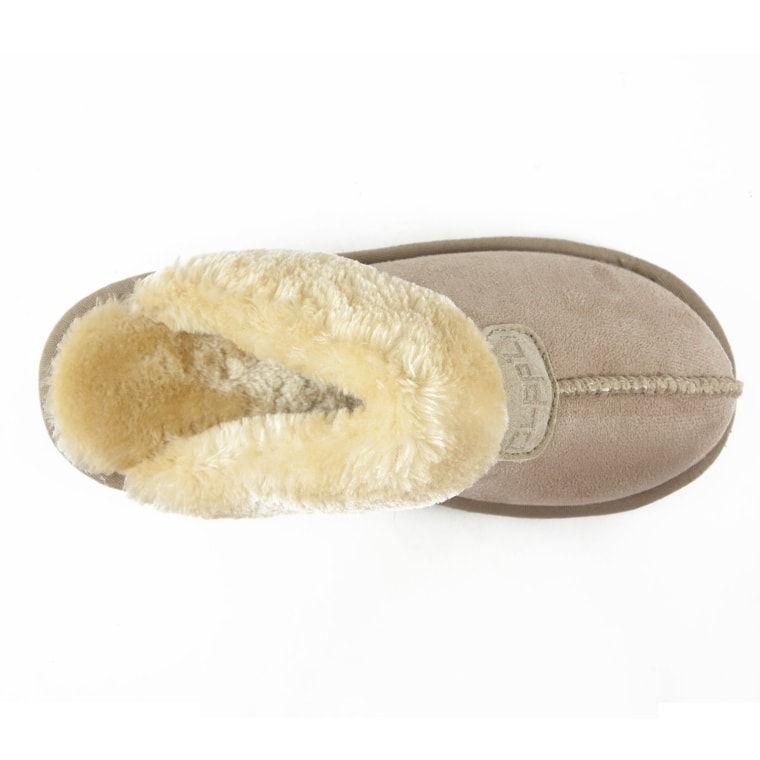 CLPP'LI Women's slip-on faux fur warm winter mules in Sand