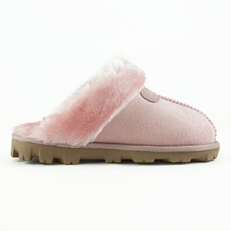CLPP'LI Women's slip-on faux fur warm winter mules in Pink