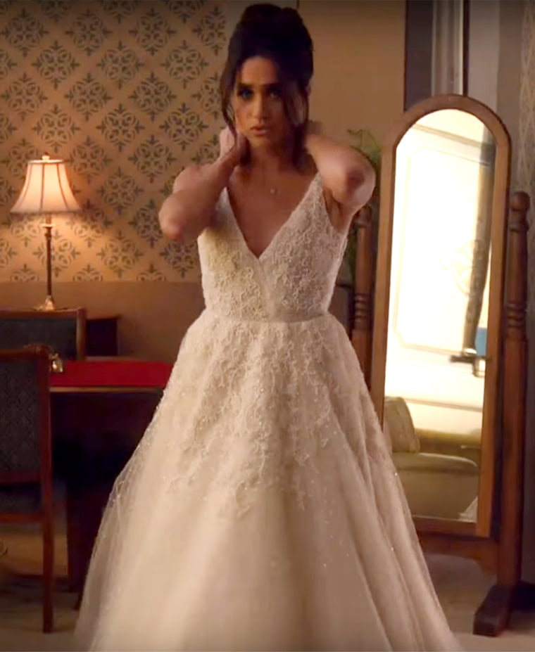 "The last time we saw Markle in a wedding gown, it was as her ""Suits"" character, Rachel Zane, just before her fiance got cold feet."