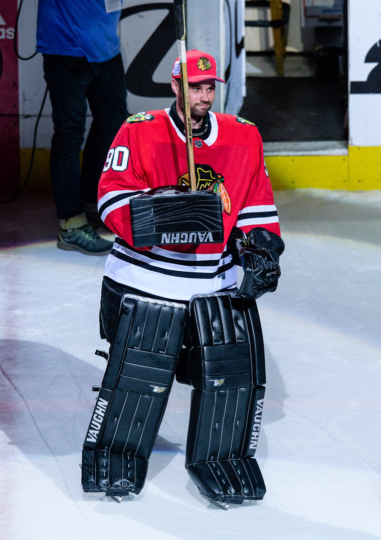 Scott Foster, a 36-year-old accountant, became an instant fan favorite when he was pressed into action as the Chicago Blackhawks' emergency goalie.