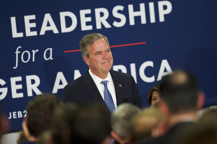 Image: Jeb Bush reacts as he announces the suspension of his presidential campaign