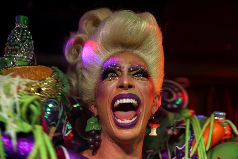"Image: ""Drag Race Thailand"" co-host Pan Pan Narkprasert 'Pangina Heals' performs at a club in Bangkok"