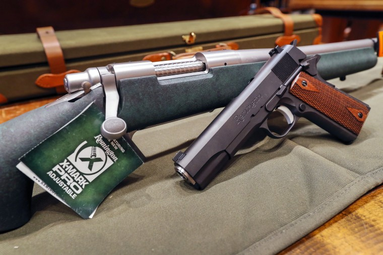 Image: A Remington rifle and handgun