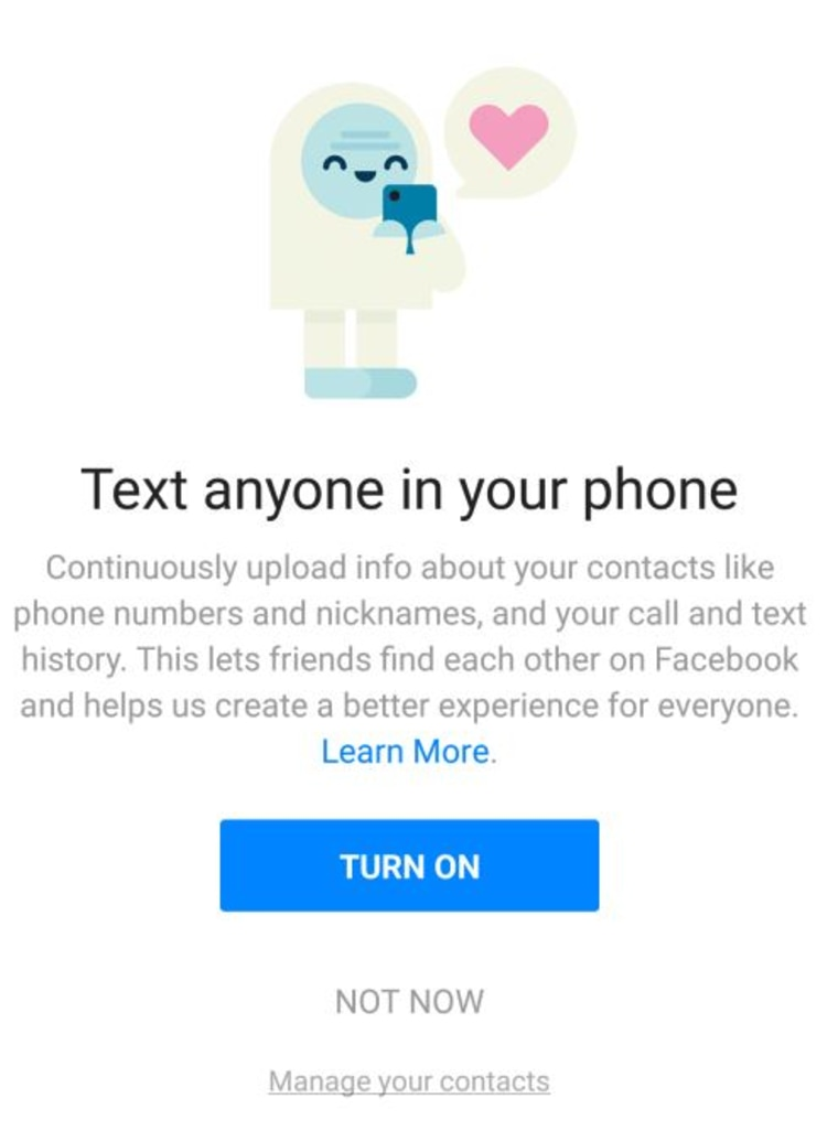 "A screenshot provide by Facebook of the ""continuously upload"" contact opt-in screen on Messenger for Android."