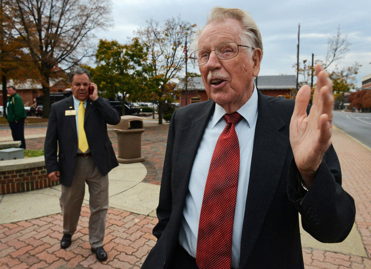 Rep. Roscoe Bartlett(R-MD) campaigns for his seat in Gaithersburg, MD.