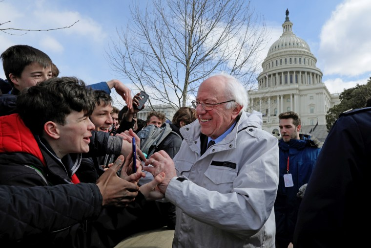 Bernie Sanders at a rally last month for tougher gun laws. The candidates supporting unionizing campaigns often hail from Sanders' wing of the Democratic Party.