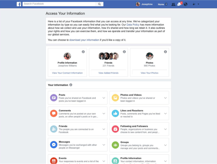 Image: A screen grab showing how to access your security information on facebook
