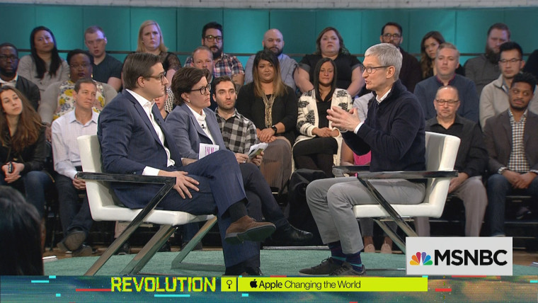 Image: MSNBC's Chris Hayes and Recode's Kara Swisher talk with Apple CEO Tim Cook