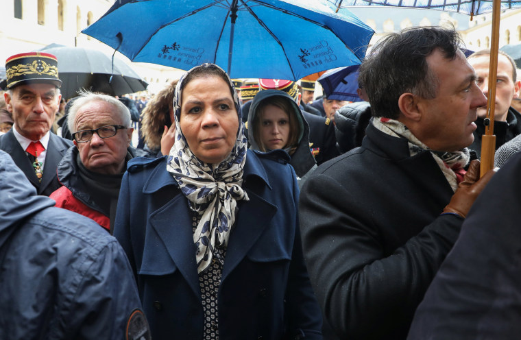 Image: Latifa Ibn Ziaten, French-Moroccan president of the Imad Ibn Ziaten Youth Association for Peace, attends a national ceremony in Paris