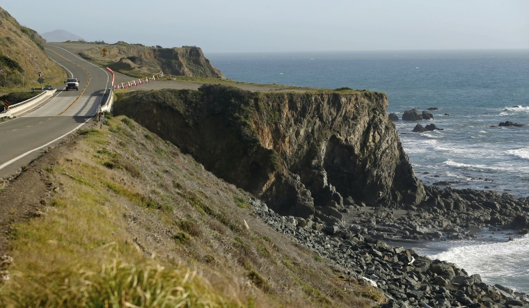 The pullout where the SUV of Jennifer and Sarah Hart was recovered off the Pacific Coast Highway, near Westport, California,  on Wednesday.
