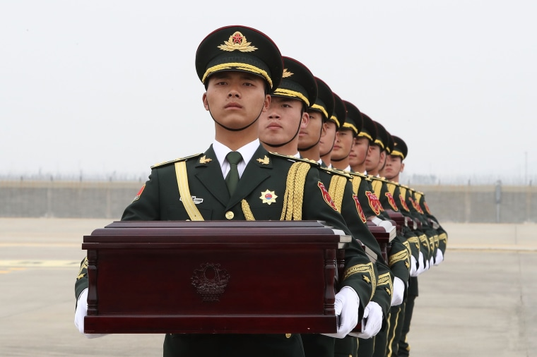 Image: *** BESTPIX *** South Korea Returns Remains of Chinese Soldiers To China