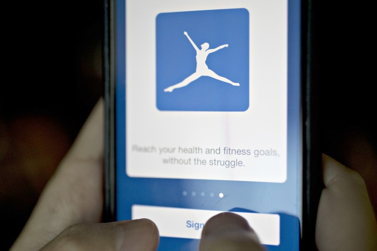 Image: The MyFitnessPal application is demonstrated for a photograph on an Apple Inc. iPhone in Washington, D.C., on Monday, Oct. 24, 2016.