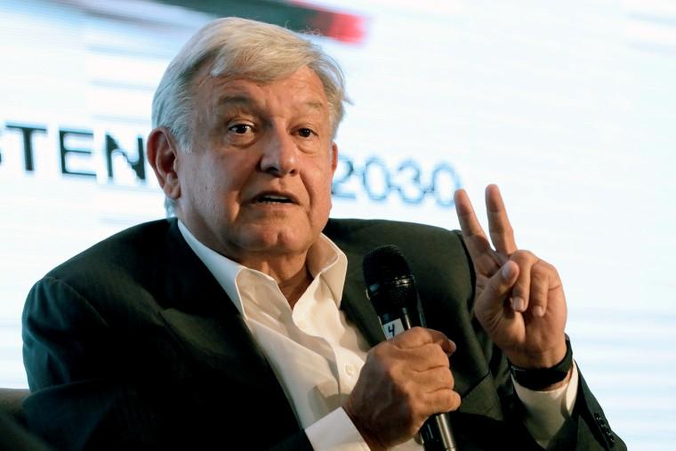Image: FILE PHOTO: Leftist front-runner Andres Manuel Lopez Obrador of the MORENA addresses the audience during a conference in Guadalajara