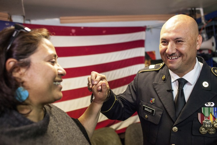 Image: Deported U.S. Army veteran Hector Barajas-Varela celebrates after being told he would be granted American citizenship