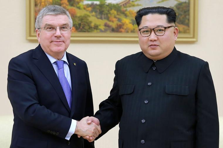 Image: North Korea's Kim Jong-Un meets Olympic chief Thomas Bach in Pyongyang.