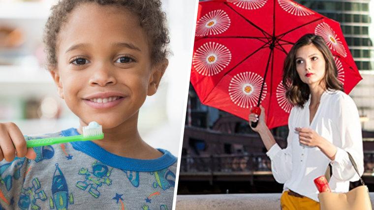 Mixed race boy brushing his teeth / Vinrella Wine Bottle Fashion Umbrella Flora