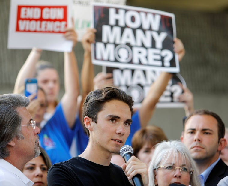 Image: David Hogg, a senior at Marjory Stoneman Douglas High School, speaks at a rally calling for more gun control three days after the shooting at his school, in Fort Lauderdale