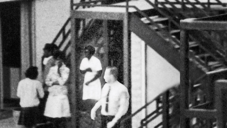 Lorraine Motel employee Mary Ellen Ford is highlighted in a section of the photo taken after the assassination.