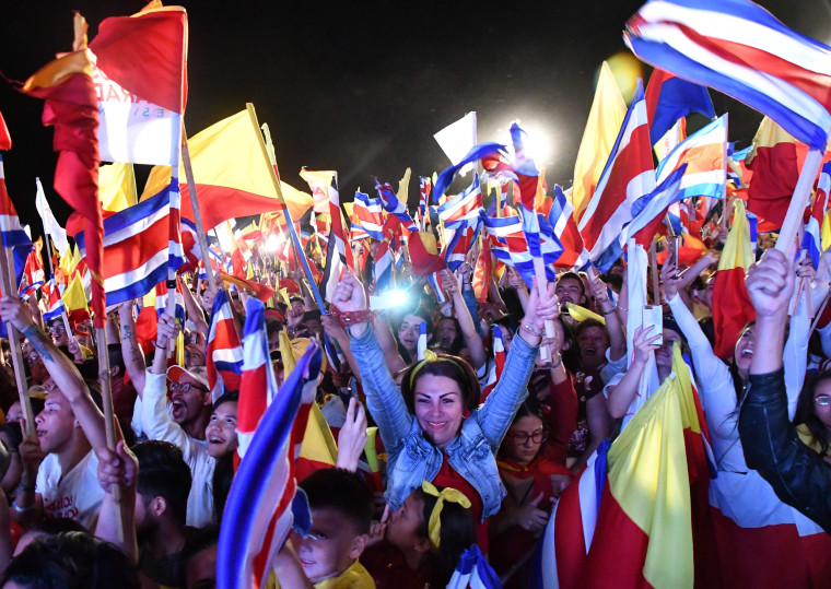 Image: Carlos Alvarado supporters celebrate after the Costa Rica presidential election
