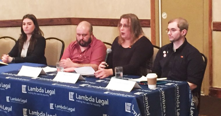 Image: Lambda Legal fellow Kara Ingelhart with plaintiffs Basil Argento and Stacie Ray and Liam Gallagher of ACLU of Ohio.