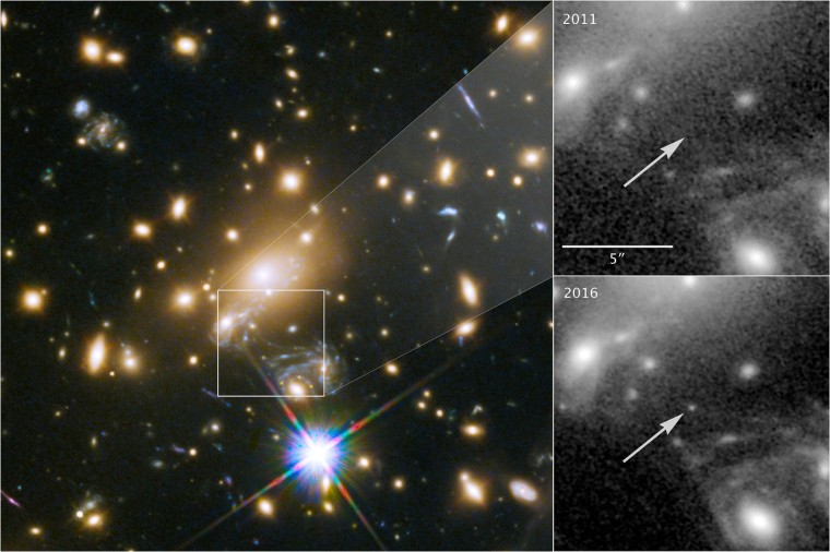 This image composite shows the discovery of the most distant known star using the NASA/ESA Hubble Space Telescope. The image to the left shows a part of the the deep-field observation of the galaxy cluster MACS J1149.5+2223 from the Frontier Fields programme gathered in 2014. The square indicates the position where the star appeared in May 2016 -- its image magnified by gravitational microlensing. This part of the image also shows the four images of the Refsdal supernova, arranged in an Einstein cross. The upper right image pinpoints the position of the star, observed in 2011. The lower right image shows where the star was undergoing the microlensing event in late May 2016.