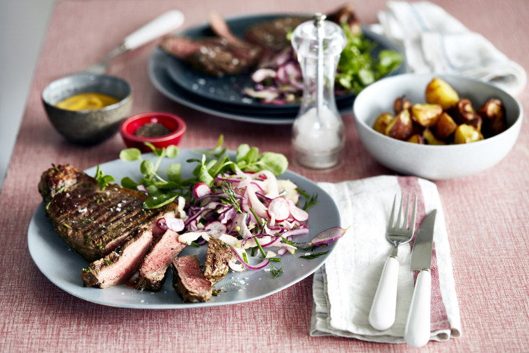 Image: Steak meal for two on table