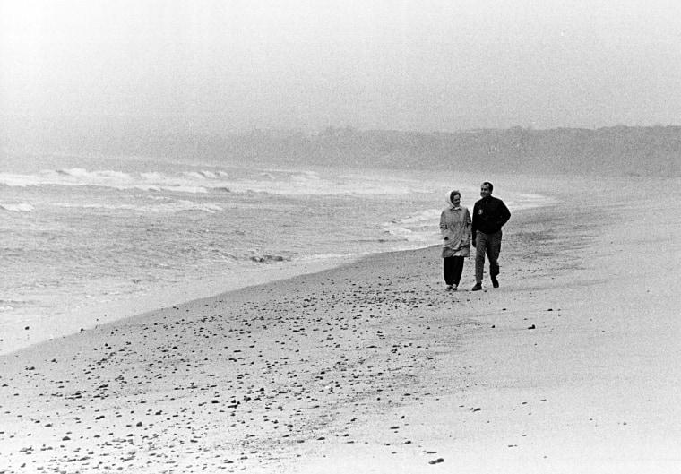 Image: Richard and Pat Nixon Walk on the Beach