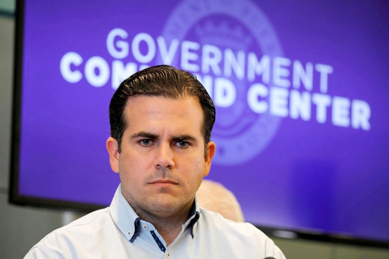 Image: Governor of Puerto Rico Ricardo Rossello attends a news conference days after Hurricane Maria hit Puerto Rico, in San Juan, on Sept. 30, 2017.