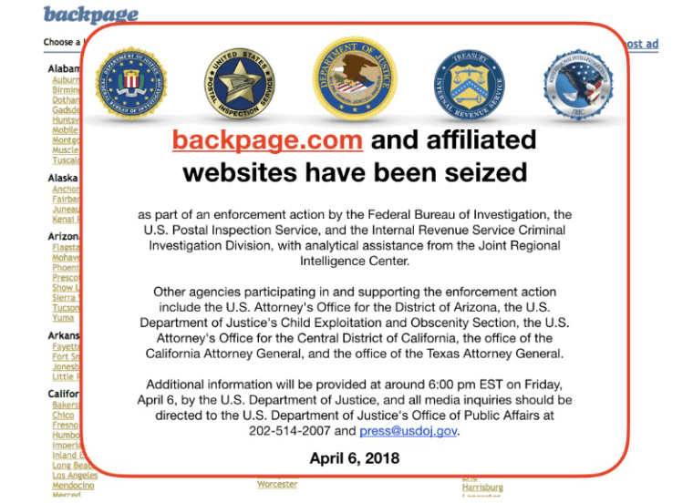 Image: backpage.com has been seized by the FBI