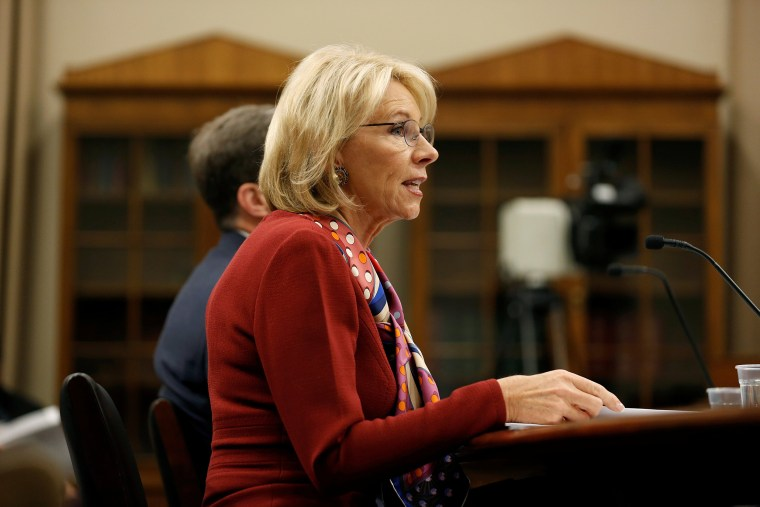 Image: U.S. Secretary of Education Betsy DeVos  testifies to the House Appropriations Labor, Health and Human Services, Education, and Related Agencies Subcommittee on the FY2019 budget request for the Department Education on Capitol Hill in Washington