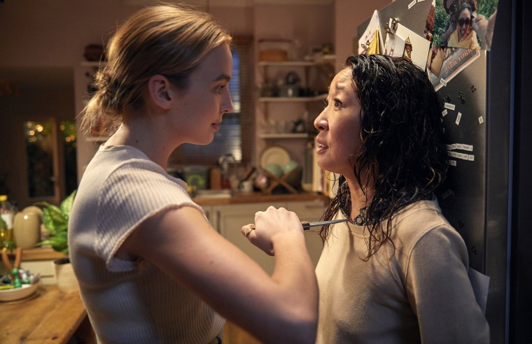 Image: Villanelle (Jodie Comer) and Eve (Sandra Oh) in Killing Eve on BBC America.