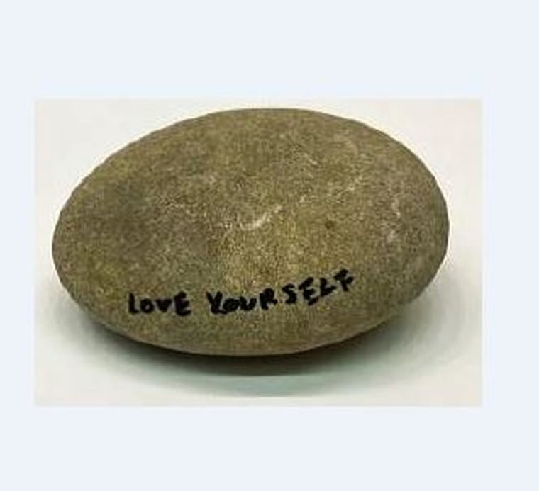 Image: A rock inscribed by Yoko Ono and valued at more than $17,000 has been stolen from the Gardiner Museum in Toronto, Canada.