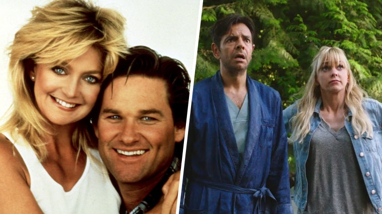 OVERBOARD, from left: Goldie Hawn, Kurt Russell, 1987. / OVERBOARD, from left: Eugenio Derbez Anna Faris, 2018.