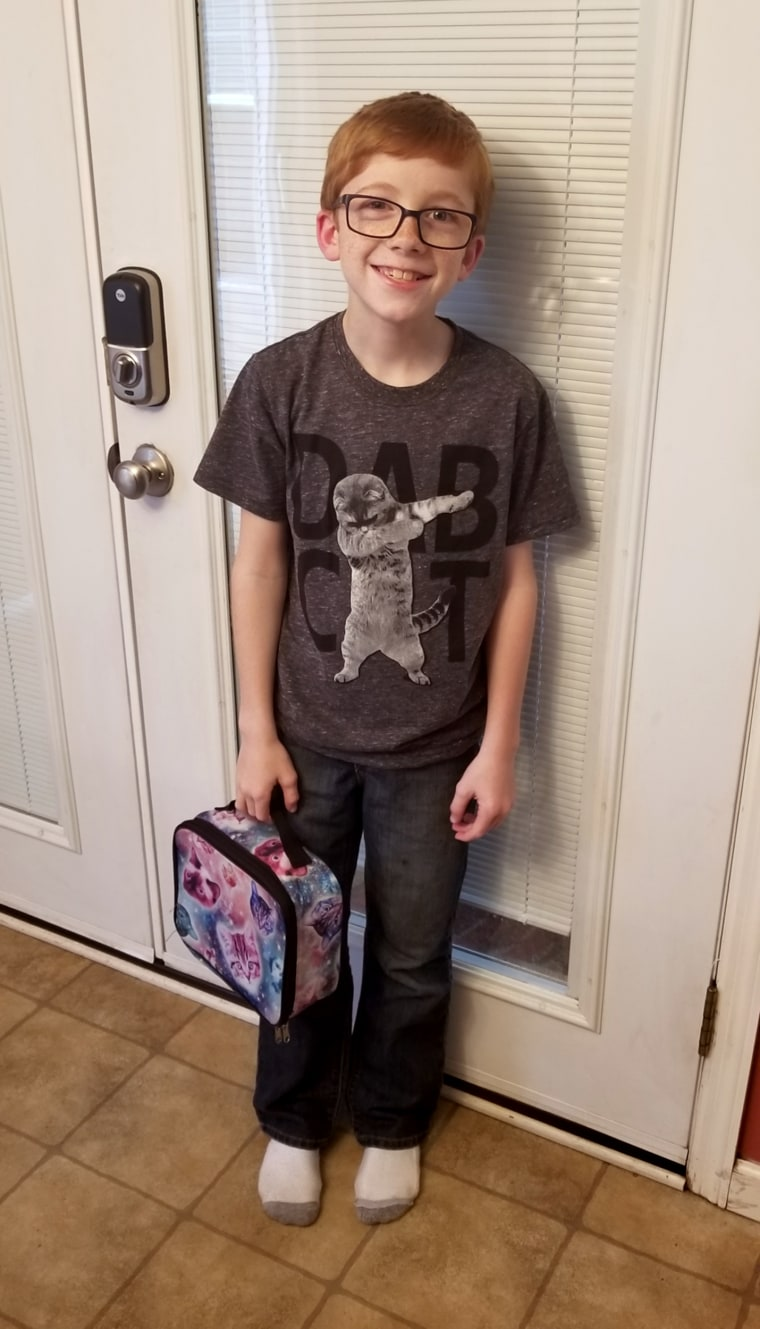 Ryker, 10, loves cats and felt so excited to have a space cats lunchbox. After his classmates bullied him about it he didn't want to carry it anymore.