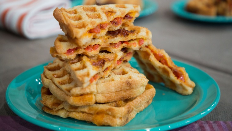 Justin Chapple's  Waffled Bacon & Tomato Grilled Cheese