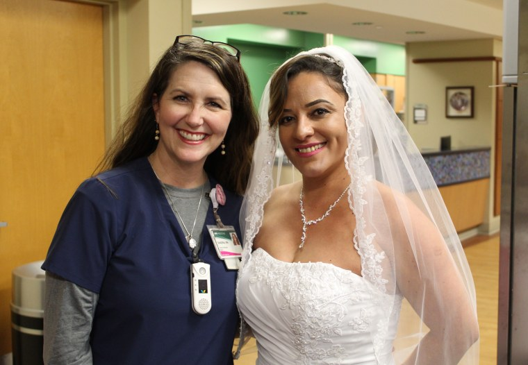 Sandra Milstead, nurse family liaison at UAB, with Ferreira on her wedding day.