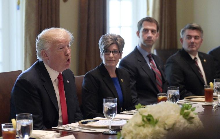 Image: Donald Trump, Joni Ernst, Tom Cotton, Cory Gardner